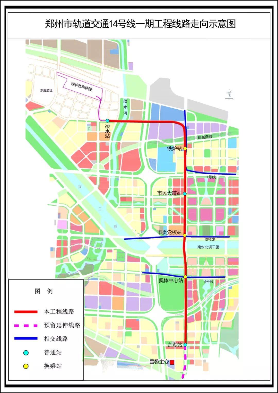 郑州地铁14号线一期运营时间,开通站点,线路图来啦!